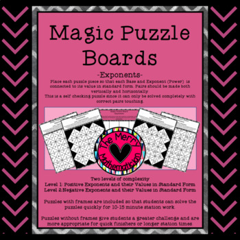 Magic Puzzle Boards for Exponents/Powers