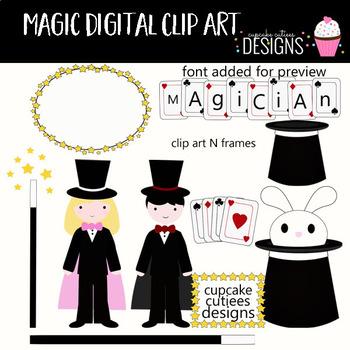 Magic Rabbit Digital Clip Art Elements