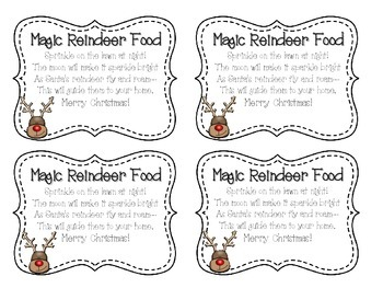 graphic regarding Reindeer Food Labels Printable identify Magic Reindeer Food items Labels