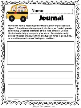 Magic School Bus: A Book About Forces 2nd Grade ELA CCGPS Unit 4 - WORKSHEETS