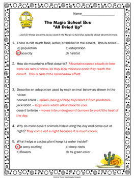 "Desert Animal Adaptations Magic School Bus ""All Dried Up"" Video Response Form"