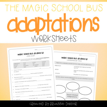 Magic School Bus All Dried Up Desert Animal Adaptations Worksheets