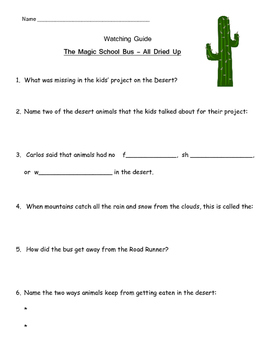 "Magic School Bus ""All Dried Up"" Listening Guide - Deserts, Adaptations"
