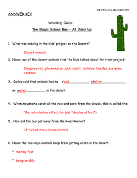 """Magic School Bus """"All Dried Up"""" Listening Guide - Deserts, Adaptations"""