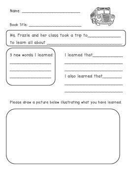 Magic School Bus Book Response Sheet