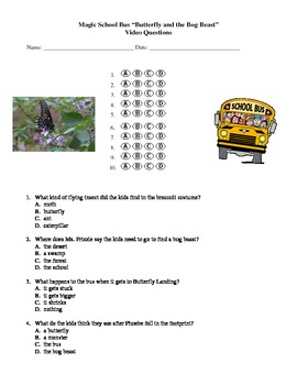 """Magic School Bus """"Butterfly and the Bog Beast"""" Video Questions (Habitats)"""