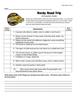 Magic School Bus Chapter Books:  Rocky Road Trip - Anticipation Guide