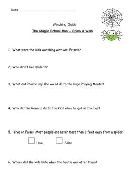 "Magic School Bus ""Creepy Crawly Fun"" Listening Guides Bundle"