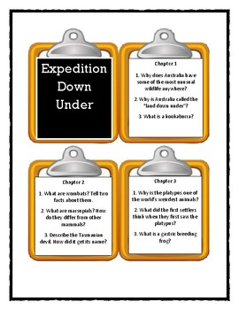 Magic School Bus EXPEDITION DOWN UNDER - Discussion Cards