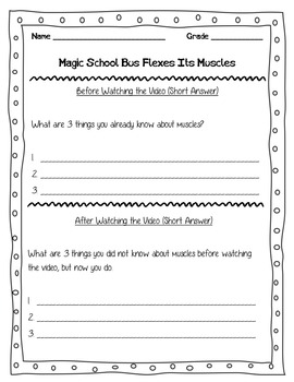 Magic School Bus Flexes Its Muscles Video Worksheet Scienc