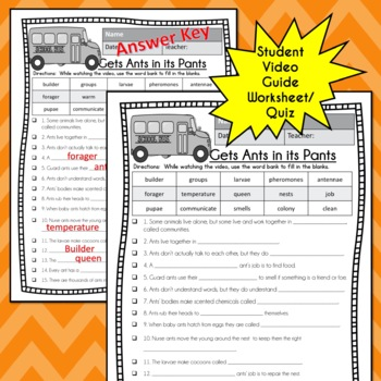 Magic School Bus GETS ANTS IN ITS PANTS Video Guide, Sub Plan, Worksheets Lesson