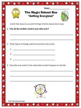 "Energy Magic School Bus ""Gets Energized"" Video Response Worksheet"