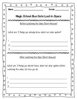 Magic School Bus Summary Worksheet by Stapels | Teachers Pay Teachers