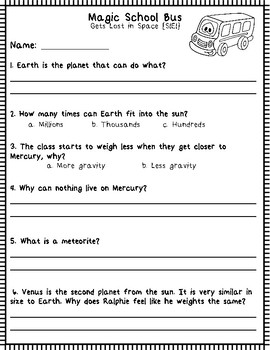 "Magic School Bus ""Gets Lost in Space"": Video Questions & Note Page"