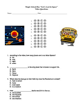 """Magic School Bus """"Get's Lost in Space"""" Video Questions (solar system)"""