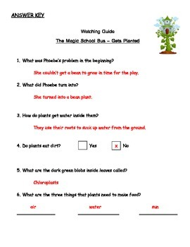 "Magic School Bus ""Gets Planted"" Listening Guide (How plants make food)"