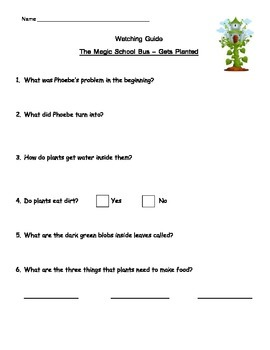 """Magic School Bus """"Gets Planted"""" Listening Guide (How plant"""