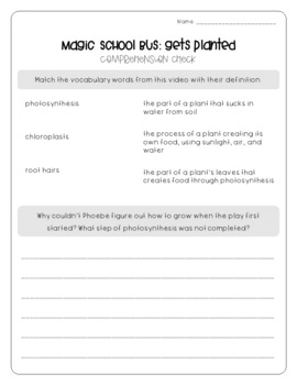 Magic School Bus Gets Planted - Photosynthesis Worksheets