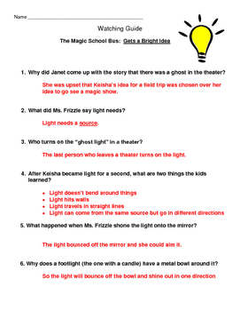 Magic School Bus - Gets a Bright Idea (properties of light)