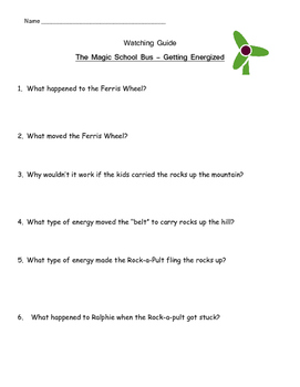 "Magic School Bus ""Getting Energized"" Listening Guide -water wind solar energy"