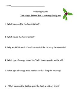 "Magic School Bus ""Getting Energized"" Listening Guide -water wind solar energy"
