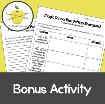 Magic School Bus Getting Energized Video Worksheets + Bonus Activity