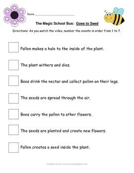 "Magic School Bus ""Goes to Seed"" activity - Plant Cycle"