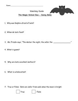 "Magic School Bus ""Going Batty"" Listening Guide - All about BATS"