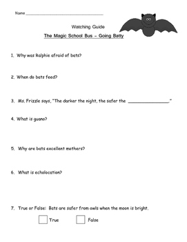 "Magic School Bus ""Going Batty"" Listening Guide - All about BATS"