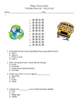"""Magic School Bus """"Holiday Special"""" Multiple choice questions  - Recycling"""