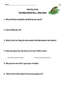 "Magic School Bus ""Hops Home"" Listening Guide - Animal Habitat"