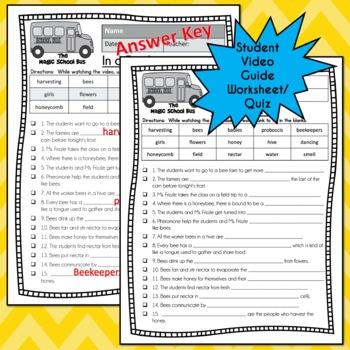 Magic School Bus IN A BEEHIVE Video Guide, Sub Plan, Worksheets, HONEYBEES