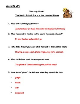 """Magic School Bus """"In the Haunted House"""" Listening Guide - Sound"""