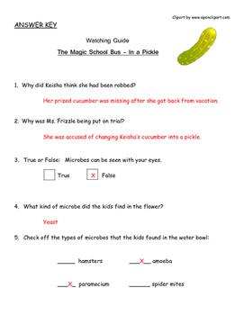 """Magic School Bus """"In a Pickle"""" Listening Guide - Microbes, Preservation"""