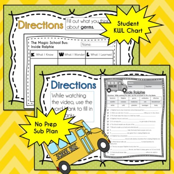Magic School Bus INSIDE RALPHIE Video Guide, Sub Plan, Worksheets, Lesson, GERMS