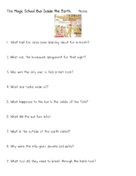 Magic School Bus Inside the Earth Rocks Minerals Science Comprehension Questions