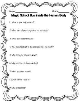 Magic School Bus Inside the Human Body Worksheet Science 3.L.1.1