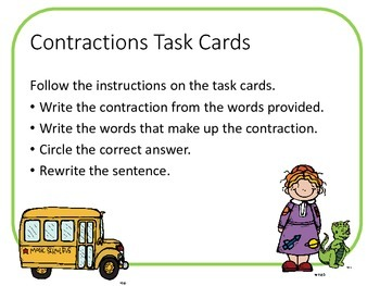 Magic School Bus Inspired Contraction Task Cards