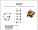 """Magic School Bus """"Kicks Up a Storm"""" Multiple Choice Questions (weather)"""