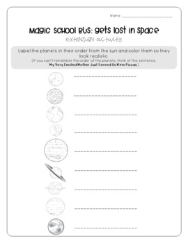 Magic School Bus Lost in Space - Planets Worksheets