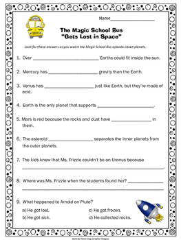 "Planets Magic School Bus ""Gets Lost in Space"" Video Response Form"