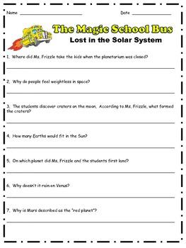Magic School Bus: Lost in the Solar System Comprehension Q