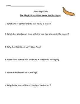 """Magic School Bus """"Meets the Rot Squad"""" Listening Guide - D"""