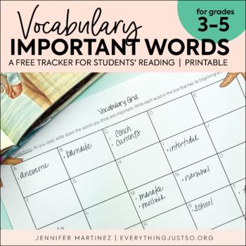 Vocabulary Grid | Important Vocabulary Tracker | FREEBIE