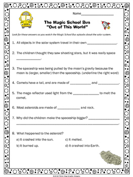 """Space Magic School Bus """"Out of This World""""  Video Response Form"""