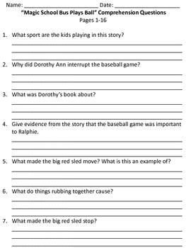 """Magic School Bus Plays Ball"" Comprehension Questions"