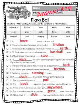 Magic School Bus Plays Ball Forces Video Guide Worksheet