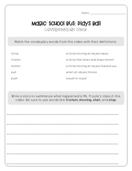 Magic School Bus Plays Ball - Force and Motion Worksheets