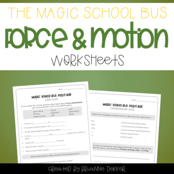 graphic regarding Force and Motion Printable Worksheets referred to as Magic Faculty Bus Performs Ball - Stress and Movement Worksheets