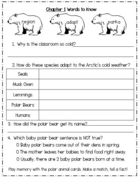 Magic School Bus Polar Bear Patrol Reading Response Activities / Unit